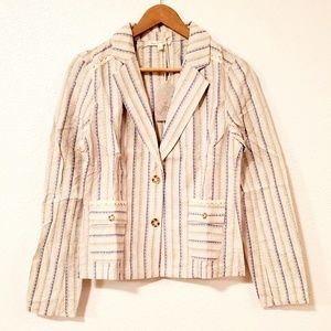 Hem and Thread Striped Embroidered Jacket